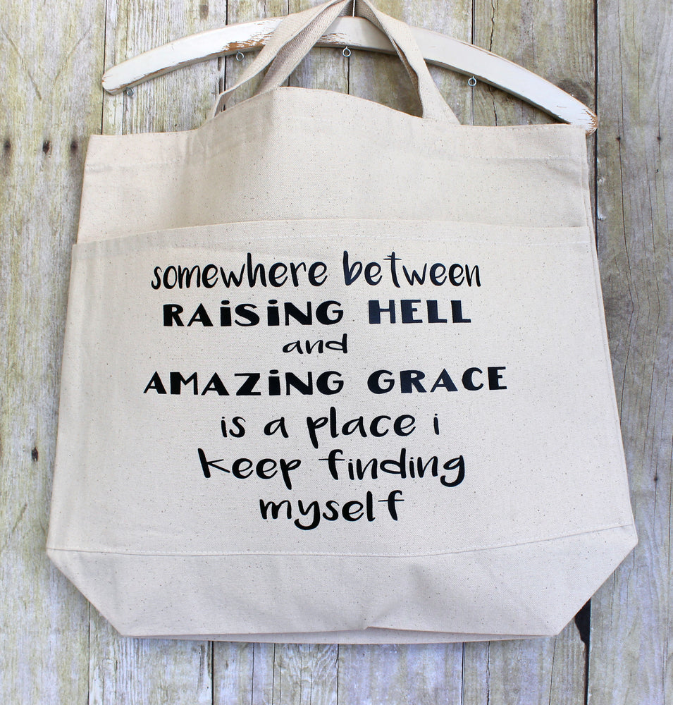 raising hell and amazing grace - tote bag