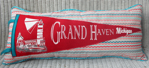 vintage pennant pillow Grand Haven Michigan