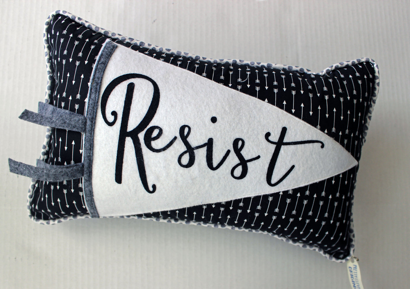 vintage style pennant pillow - Resist
