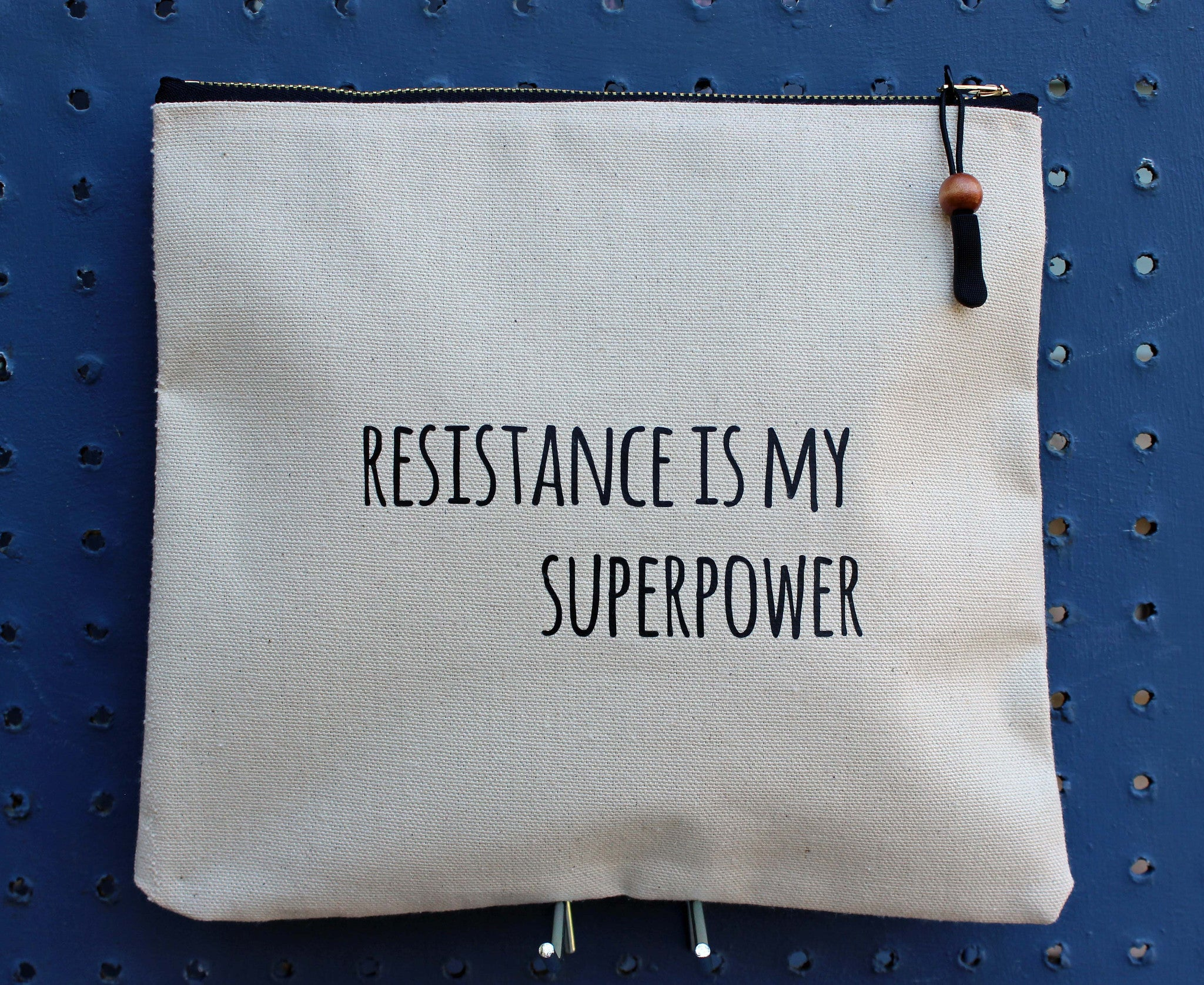 resistance is my superpower - zip money bag