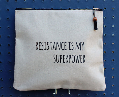 resistance is my superpower - zip money bag - Pretty Clever Words