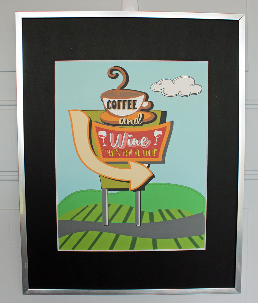 road sign coffee and wine - silkscreened print