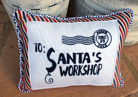 vintage style pennant pillow - Santa's Workshop