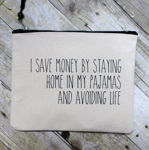 save money in your pajamas - zip money makeup bag