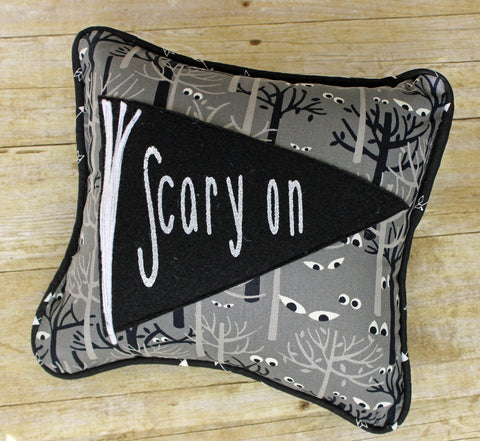 scary on! pennant Halloween pillow