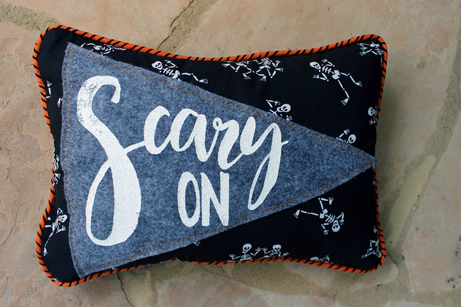 vintage style pennant pillow - Scary On!