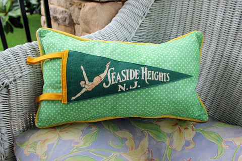 vintage pennant pillow Seaside Heights NJ - Pretty Clever Words