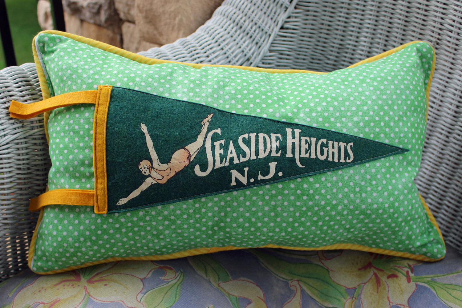vintage pennant pillow Seaside Heights NJ