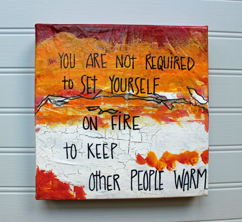 set on fire canvas word art