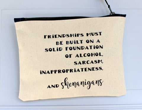 friendships and shenanigans - zip money makeup bag