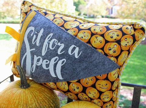 vintage style pennant pillow - Sit for a Spell!