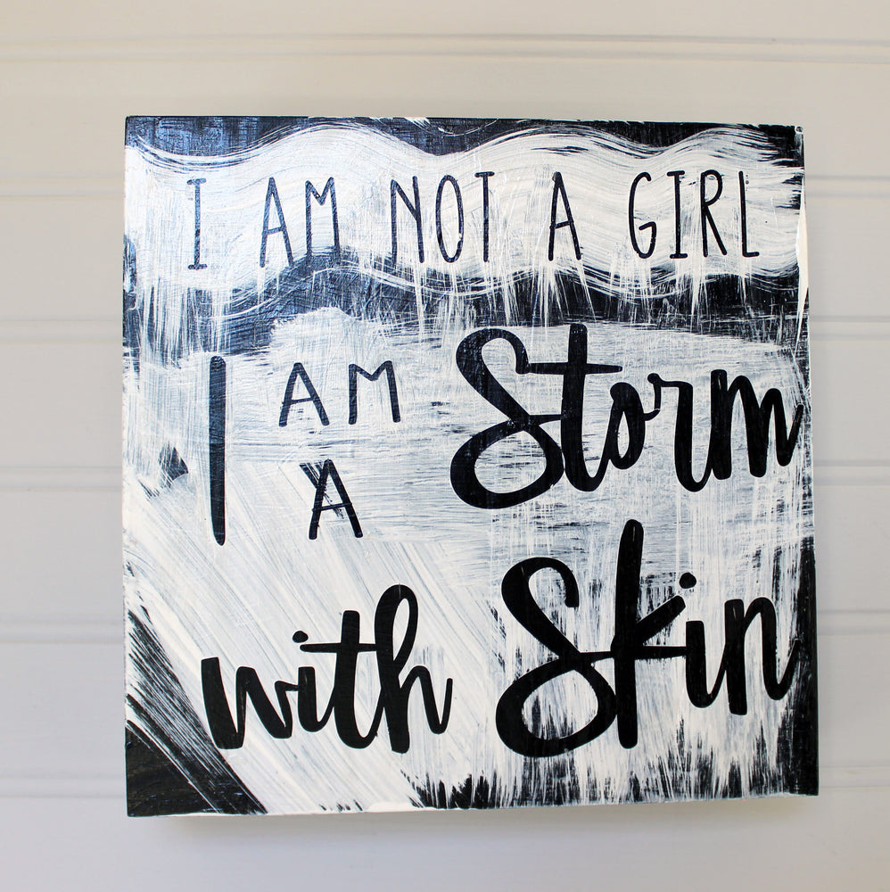 i am a storm with skin - wood panel art