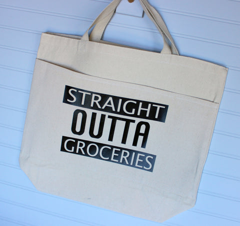 straight outta groceries - tote bag