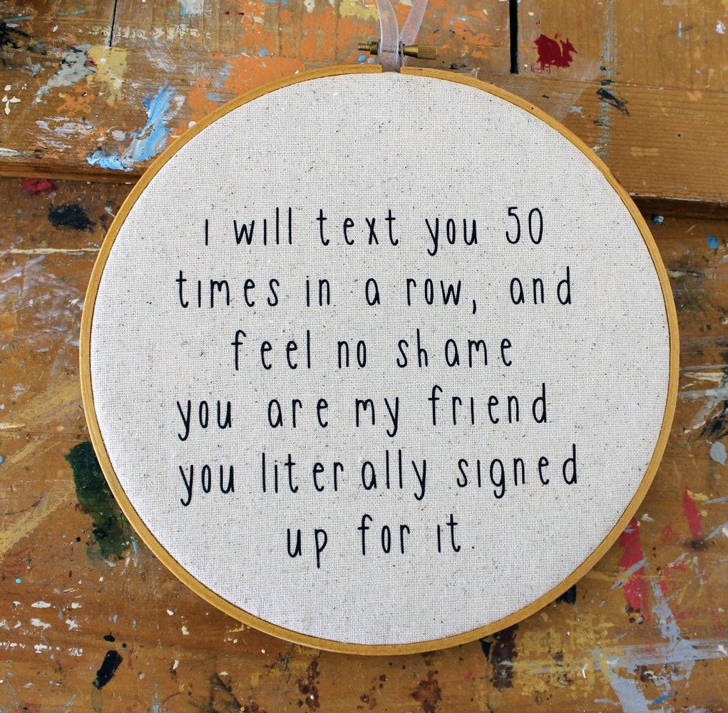 text you hoop art - Pretty Clever Words