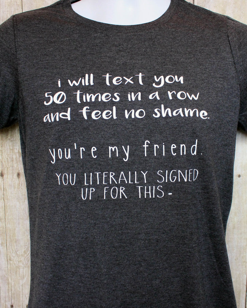 text you 50 times - tank and shirt