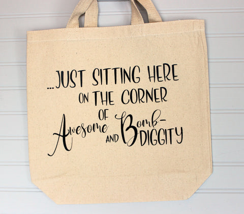 on the corner of awesome - tote bag
