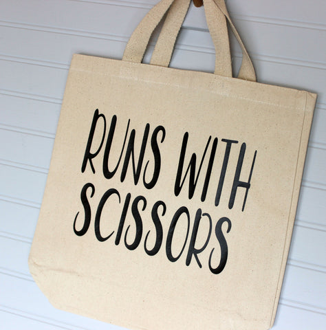 runs with scissors - tote bag