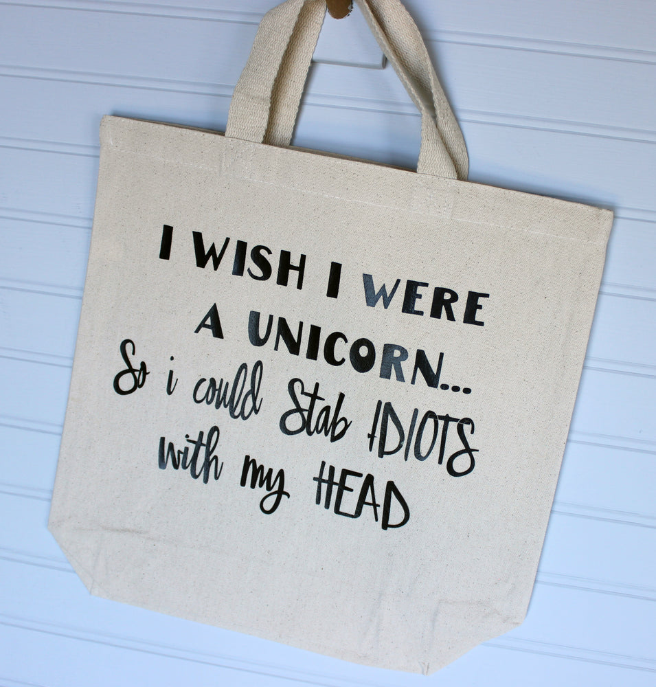 i wish i were a unicorn - tote or zip bag