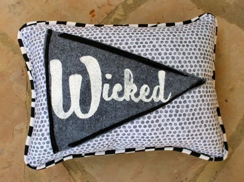 vintage style pennant pillow - Wicked!