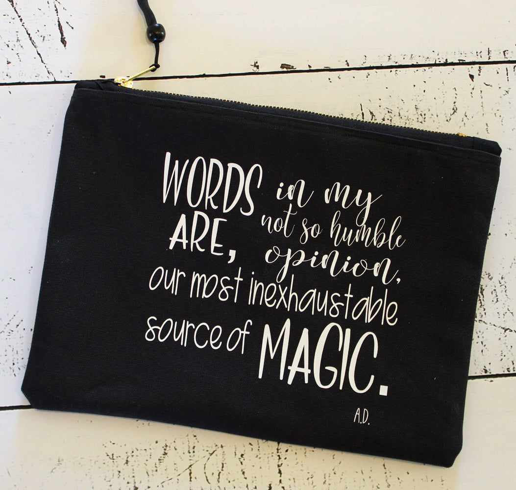 words are magic - zip money makeup bag