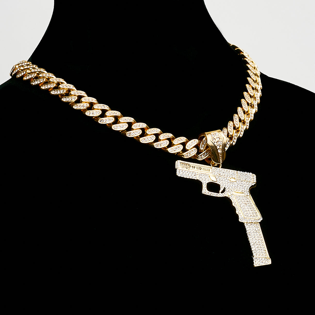 14K Iced Out Miami Cuban Glizzy Glock Chain