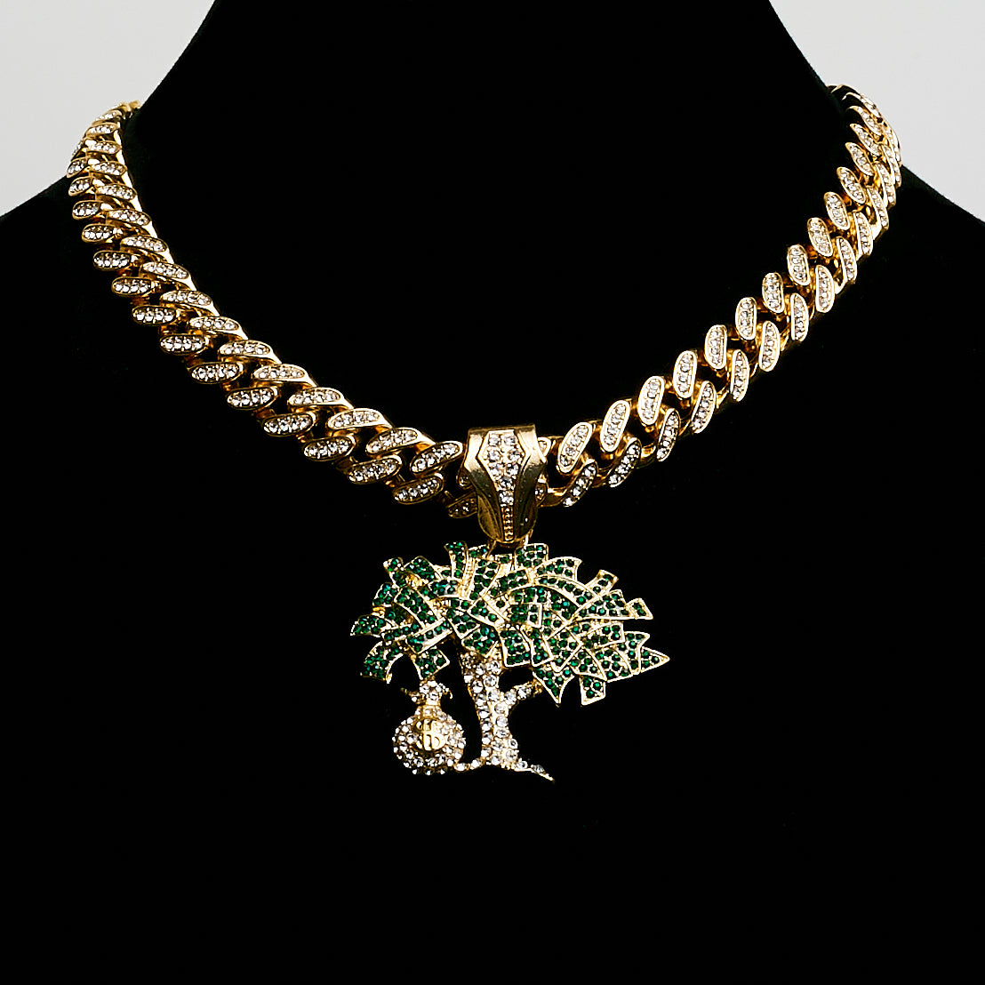 14K Iced Out Miami Cuban Green Money Tree