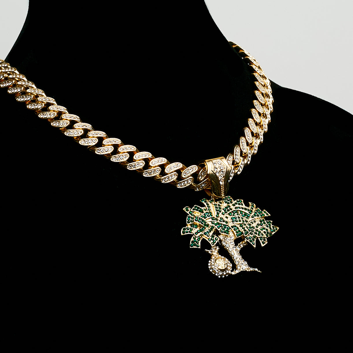 14K Icey Miami Cuban Green Money Tree