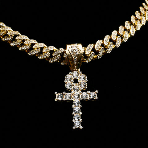 14K Iced Out Miami Cuban  With Ankh Piece