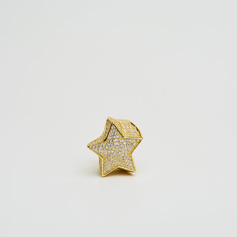 14K Iced Out Silver Star Ring