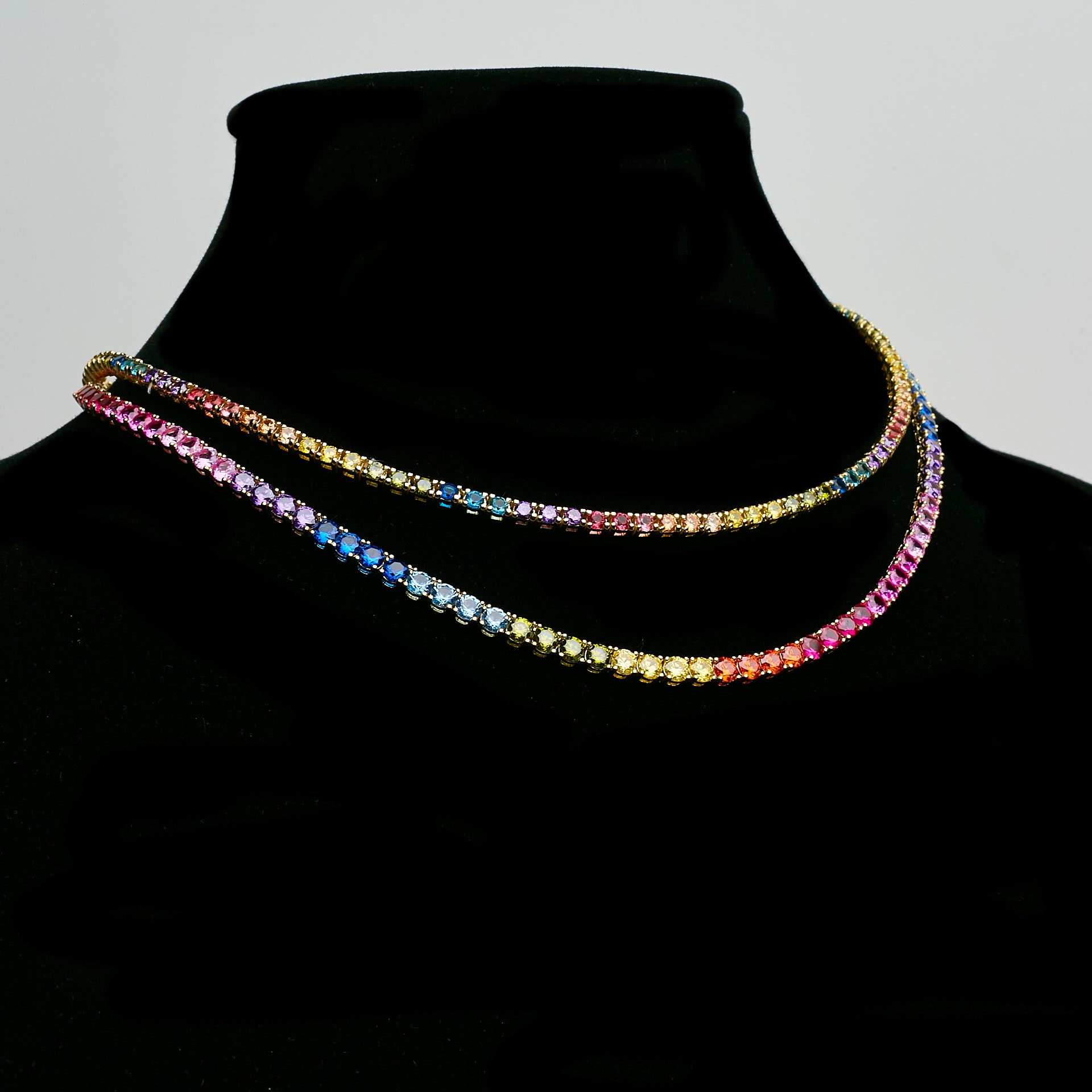 14K Iced Out Multi Color Tennis Chain