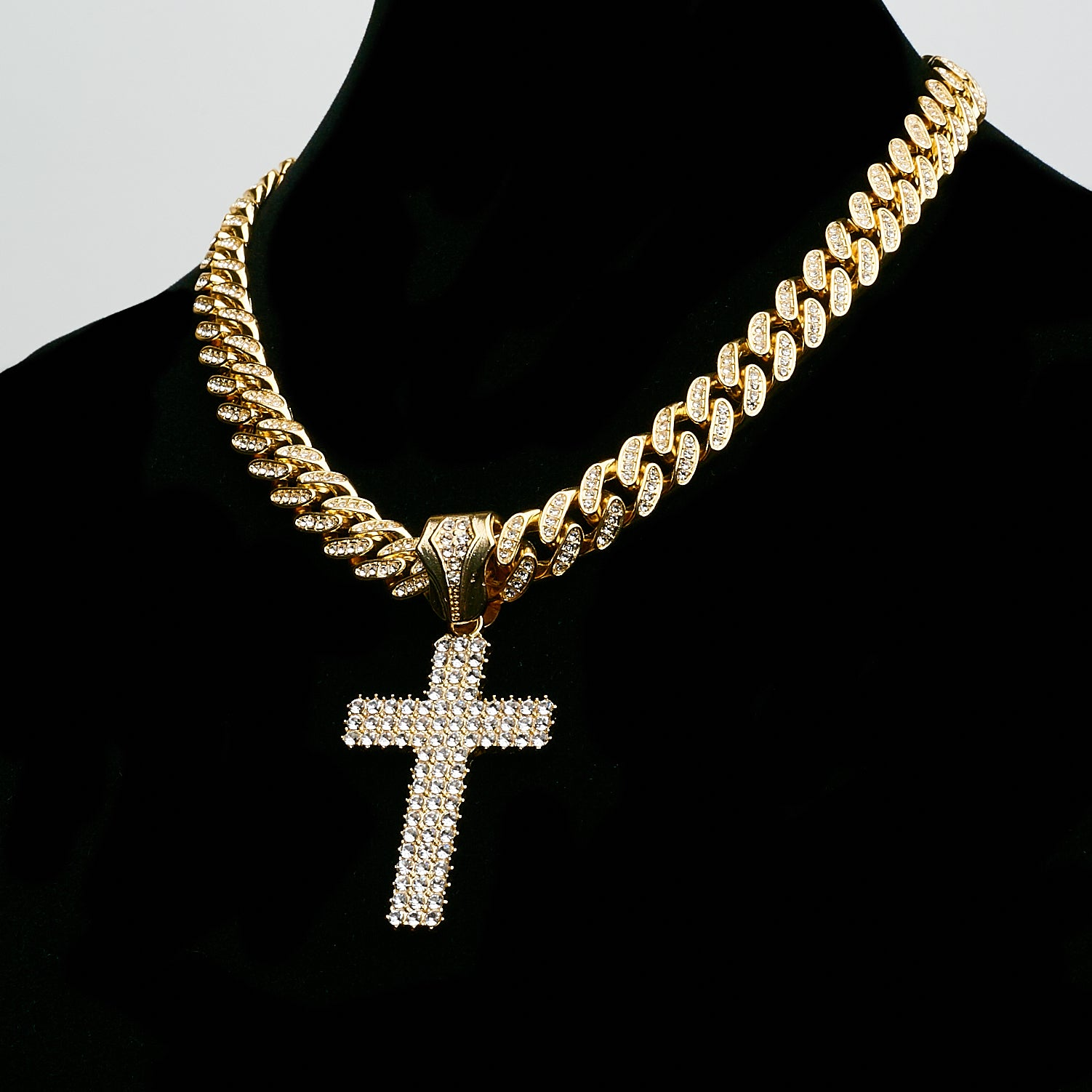 14K Silver Plated Flooded Cross On Miami Cuban