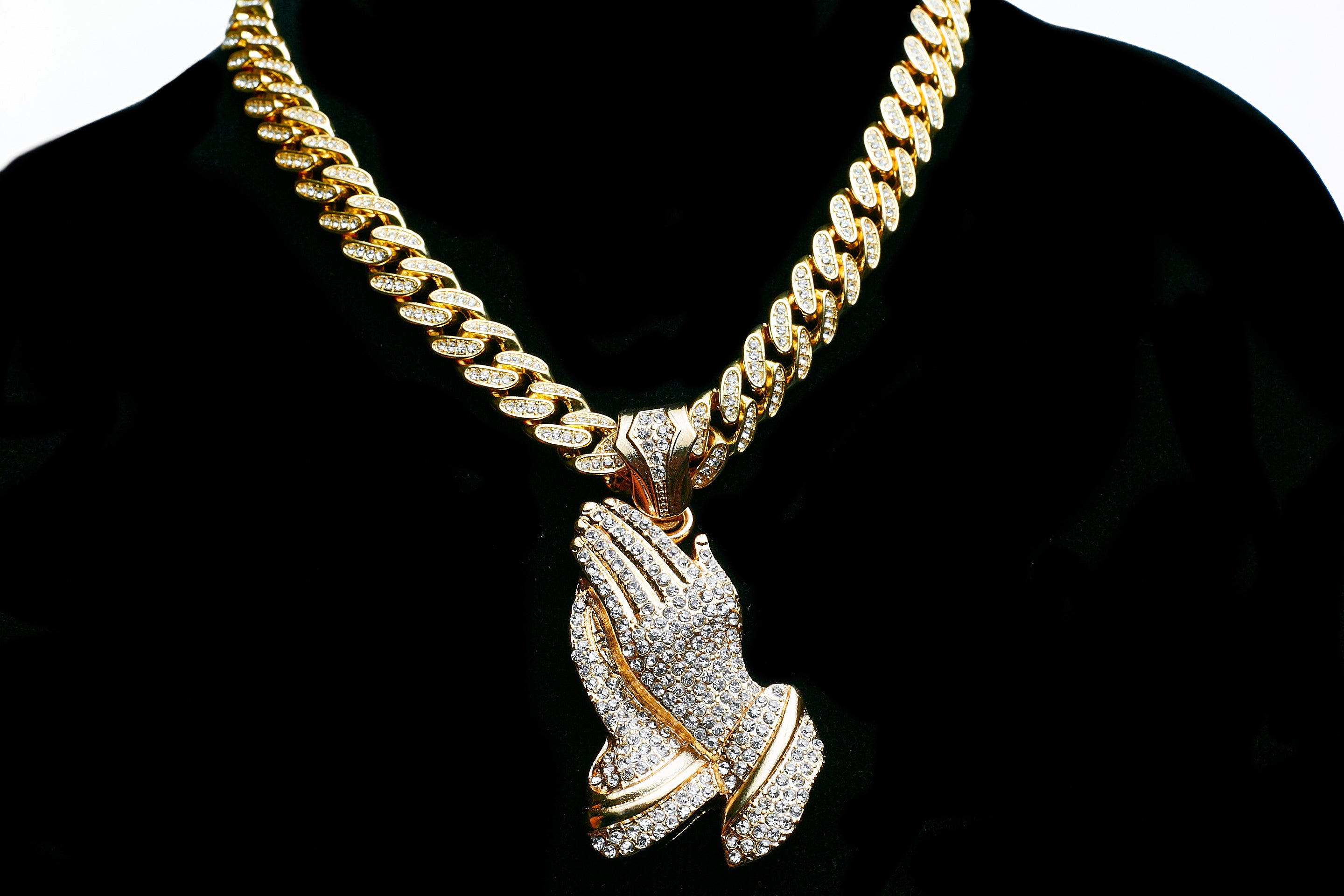 14K Icey Out Praying Hands On Iced Out Miami Cuban