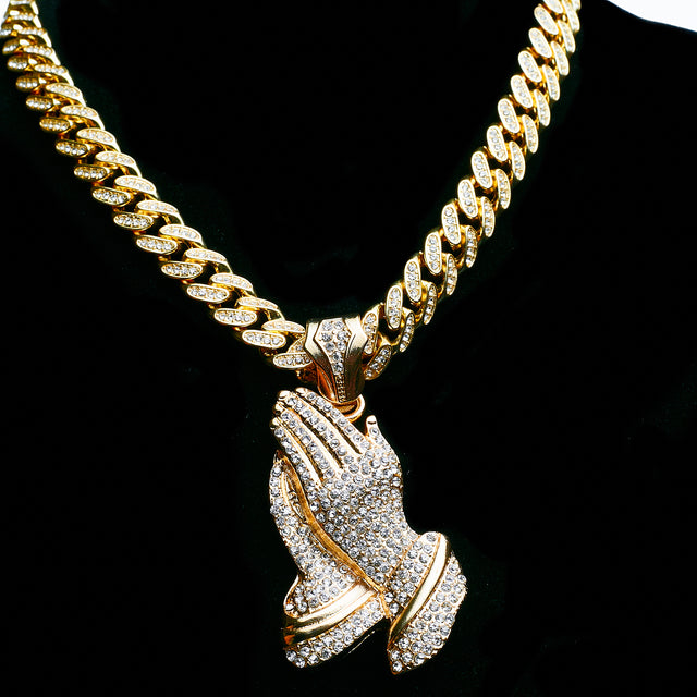 14K Iced Out Praying Hands On Iced Out Miami Cuban