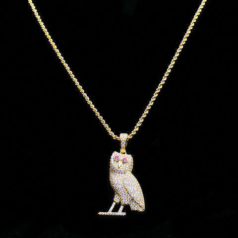 14K Iced Out Silver Dipped In Gold OVO Owl