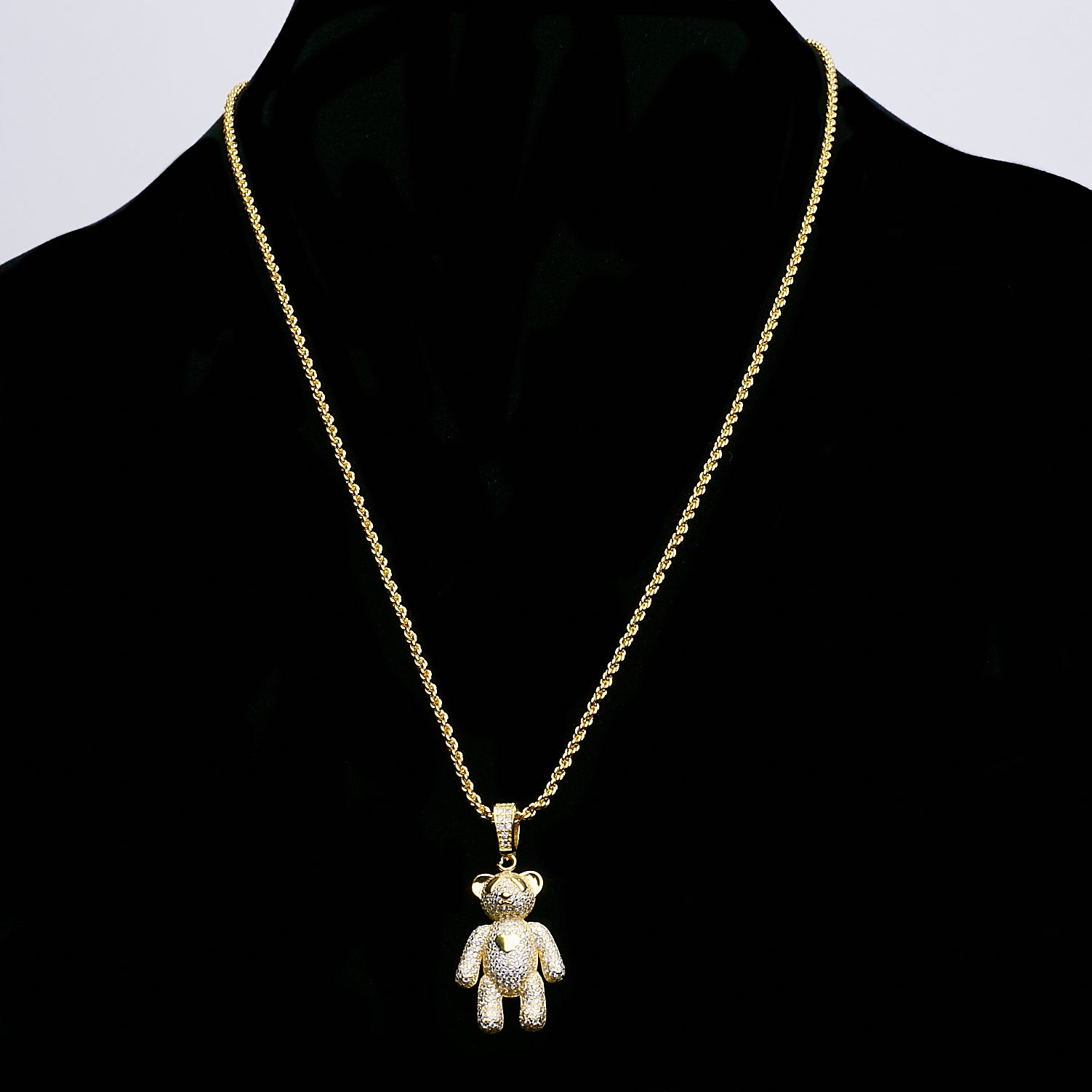14k Iced Out Teddy Beat Silver Dipped In Gold
