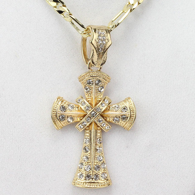 Thick Iced Out Cross On 24 Inch Figaro Chain