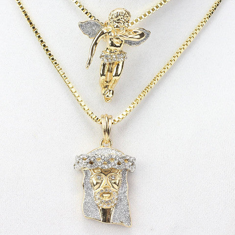 gold pendant iced mini s set necklace mens jesus piece men micro out silver lab diamond sterling