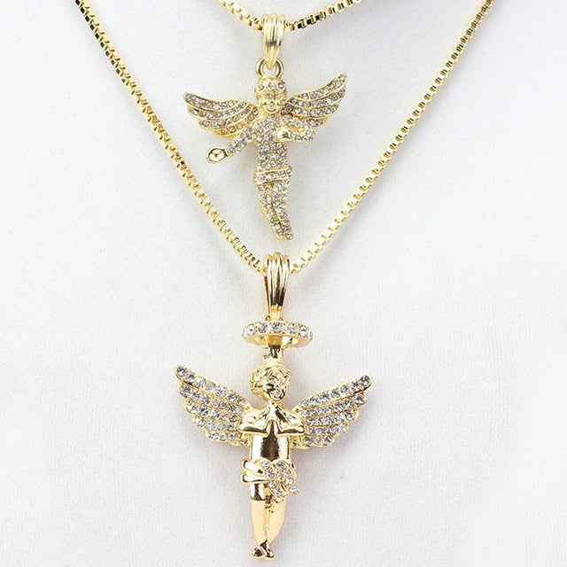 2 Chain Set: Gold Fully Iced Out Baby Angel & Halo Angel Set
