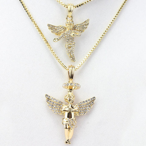 2 Chain Set: Gold Fully Icey Baby Angel & Halo Angel Set