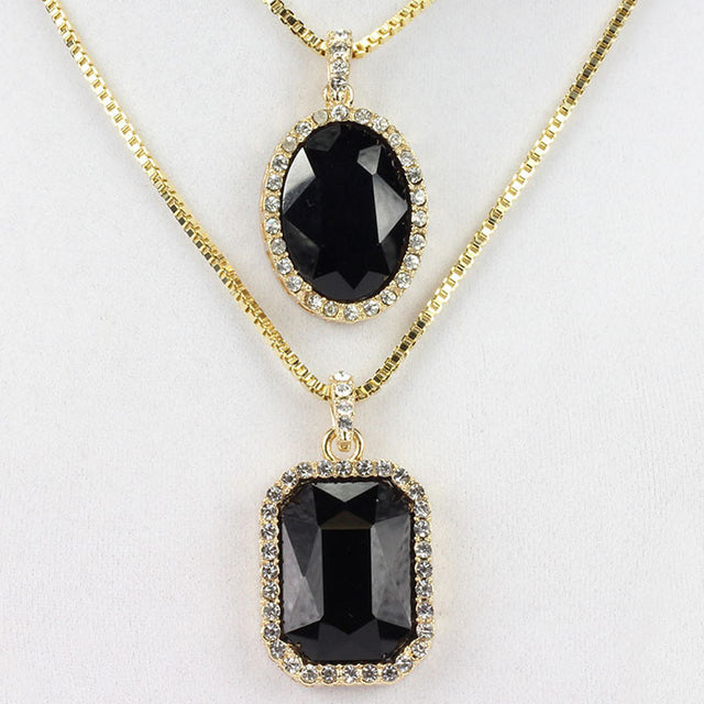 2 Chain Set: Square And Oval Black Gem Stone 24 And 30 Inch Box Chain