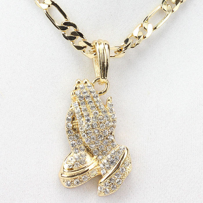 Iced Out Praying Hands On Figaro Link Chain