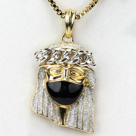 Gold Plated Jesus Piece With Black Mask & White Cuban Link Crown
