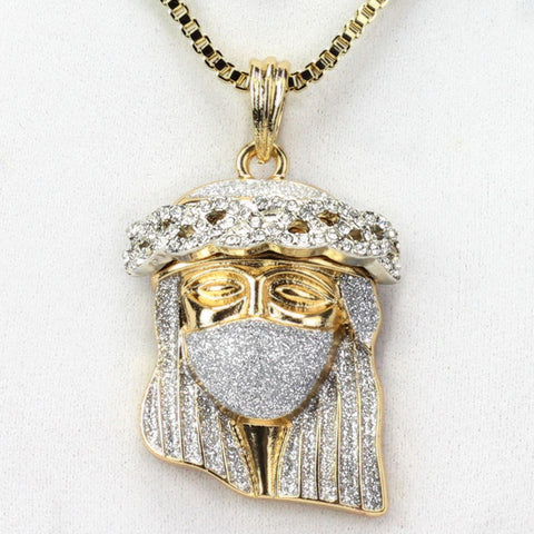 Iced Out Ski Mask Jesus Piece With Iced Out Crown 24 Inch Box Chain