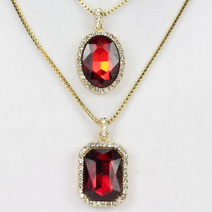 2 Chain Set: Iced Out Square Red Ruby And Oval