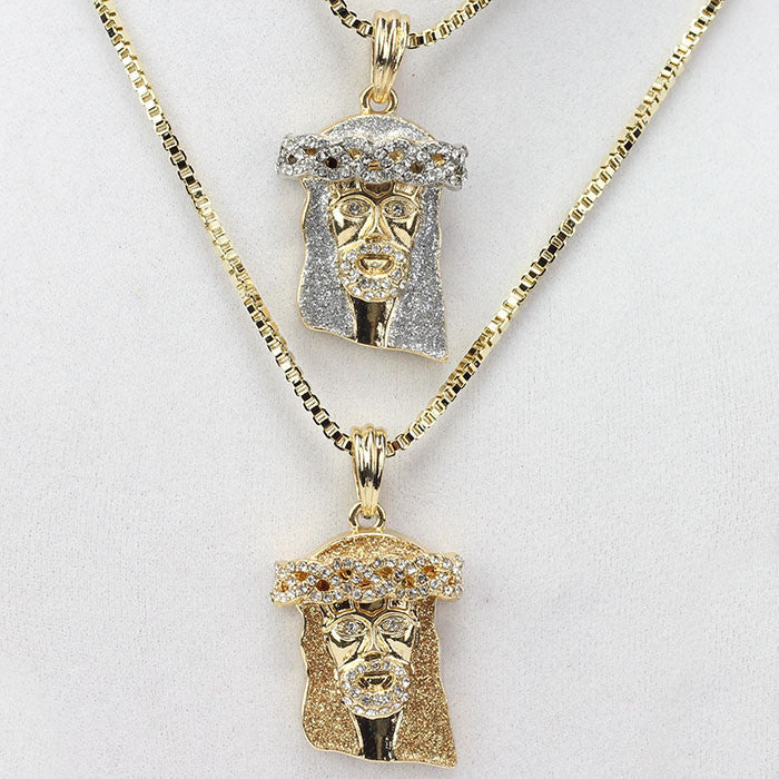 2 Chain Set: Icey Jesus With Brown Ice And Blue Ice 24 And 30 Inch