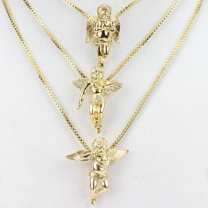 3 Chain Set: Gold Plated Three Angel Pieces Set