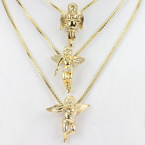 3 chain set gold plated three angel pieces set � datnewice