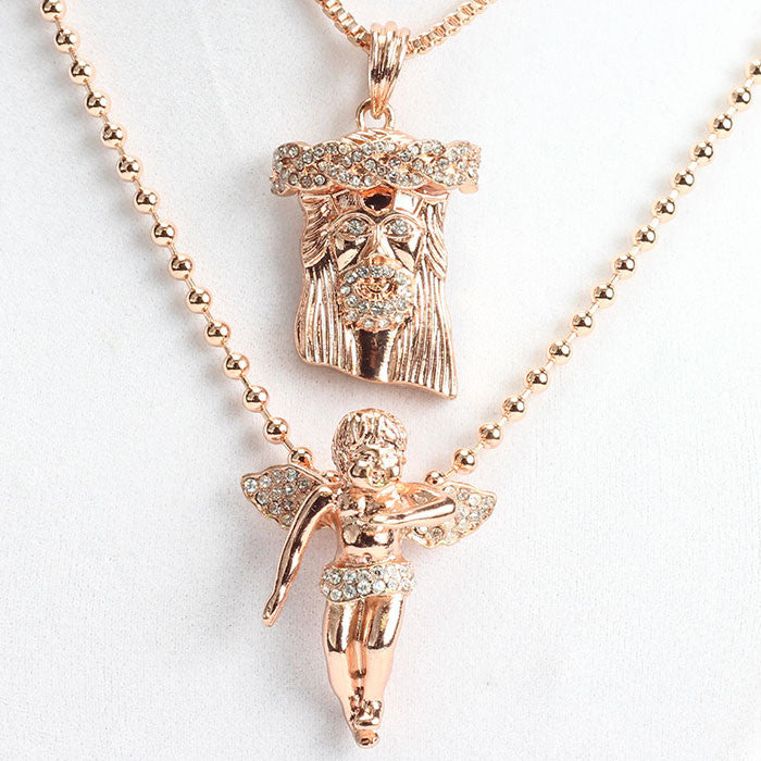 micro gold sterling necklace hiphopbling jesus piece products silver