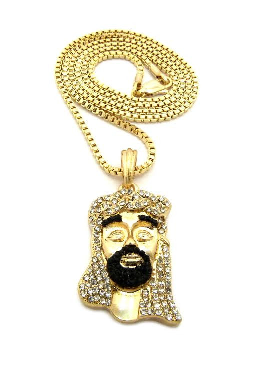 14k Black Beard Jesus On 24 Inch Box Chain