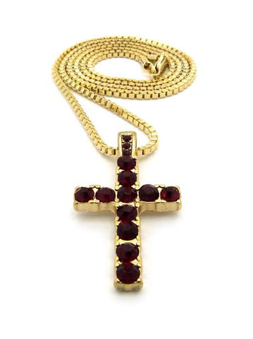 Iced Out Red Ruby Cross